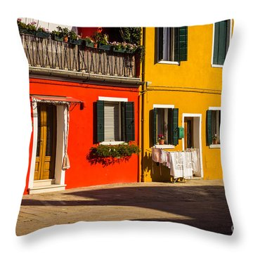 Vibrant Burano Throw Pillow