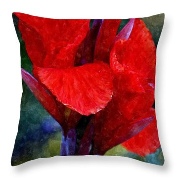 Vibrant Canna Bloom Throw Pillow