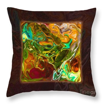 Throw Pillow featuring the painting Vibrant Fall Colors An Abstract Painting by Omaste Witkowski