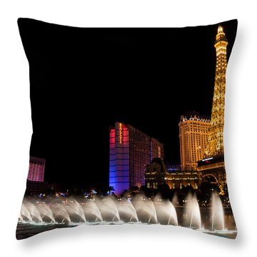 Vibrant Las Vegas - Bellagio's Fountains Paris Bally's And Flamingo Throw Pillow