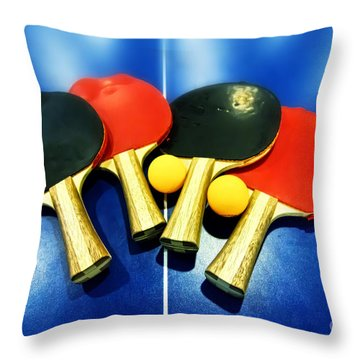 Vibrant Ping-pong Bats Table Tennis Paddles Rackets On Blue Throw Pillow