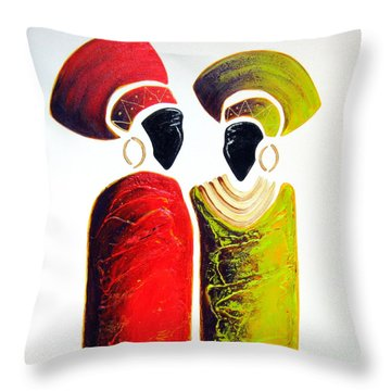 Vibrant Zulu Ladies - Original Artwork Throw Pillow