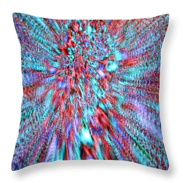 Vibrating Red And Blue Throw Pillow