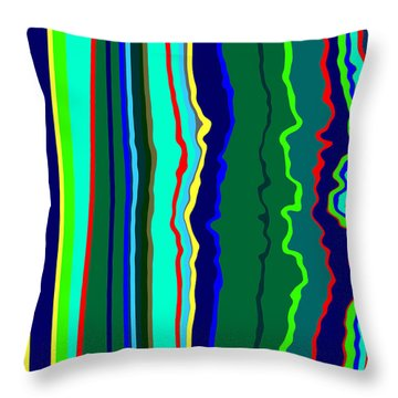 Throw Pillow featuring the painting Vibrato Stripes  C2014  by Paul Ashby