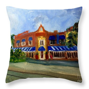 Vic And Angelos In Downtown Delray Beach Throw Pillow by Donna Walsh