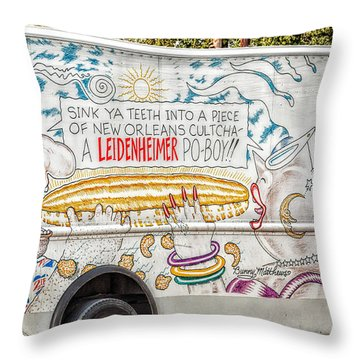 Vic And Nat'ly And The Leidenheimer Po-boy Truck - New Orleans Throw Pillow by Kathleen K Parker