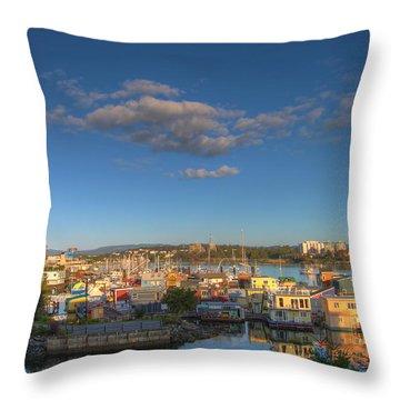Victoria Bc Fisherman's Wharf Throw Pillow by Jit Lim