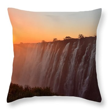 Victoria Falls At Sunset Throw Pillow by Jeff at JSJ Photography