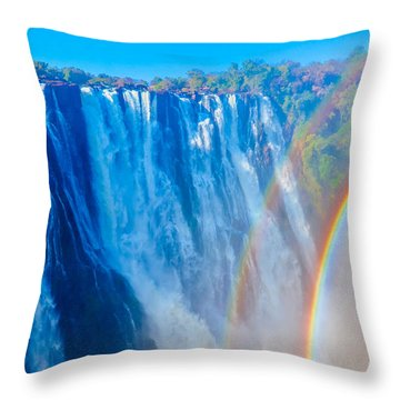 Victoria Falls Double Rainbow Throw Pillow by Jeff at JSJ Photography