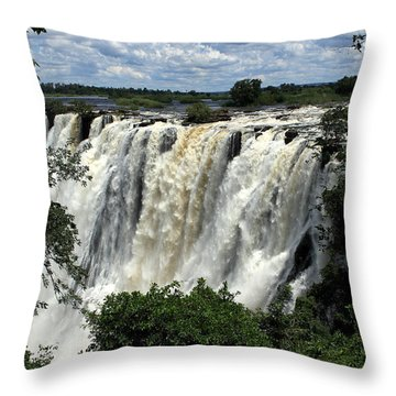 Victoria Falls On The Zambezi River Throw Pillow