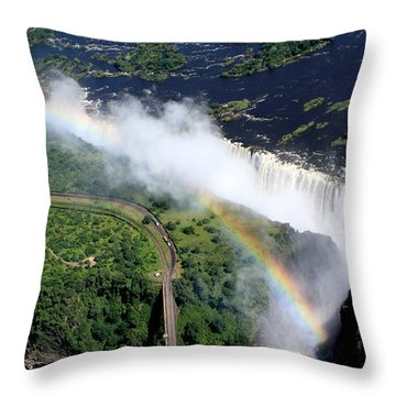 Rainbow Over Victoria Falls  Throw Pillow