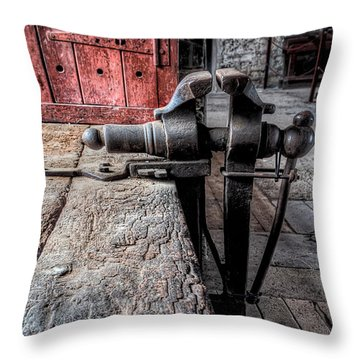 Victorian Bench Vice Throw Pillow by Adrian Evans
