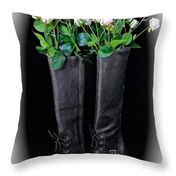Victorian Black Boots Throw Pillow