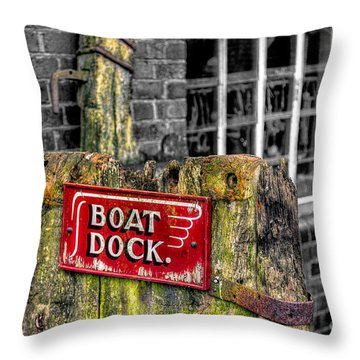 Victorian Boat Dock Sign Throw Pillow by Adrian Evans