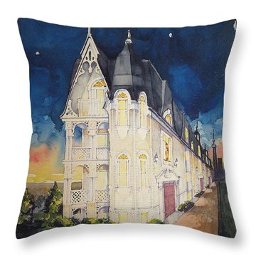 The Victorian Apartment Building By Rjfxx. Original Watercolor Painting. Throw Pillow