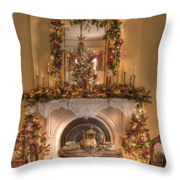 Victorian Christmas By The Fire Throw Pillow