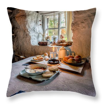 Victorian Cottage Breakfast Throw Pillow