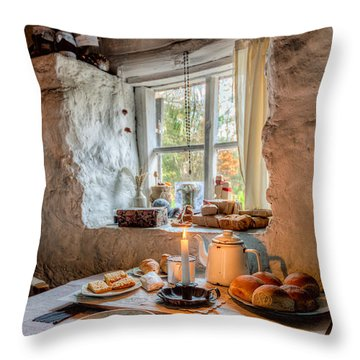 Victorian Cottage Breakfast V.2 Throw Pillow