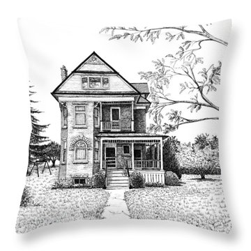 Victorian Farmhouse Pen And Ink Throw Pillow by Renee Forth-Fukumoto