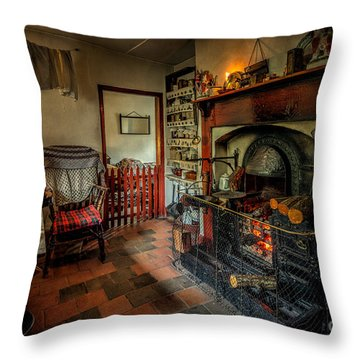 Victorian Fire Place Throw Pillow by Adrian Evans