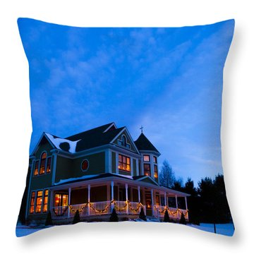 Victorian House At Christmastime Throw Pillow by Diane Diederich