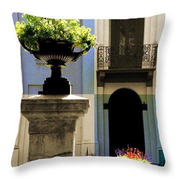 Victorian House Flowers Throw Pillow
