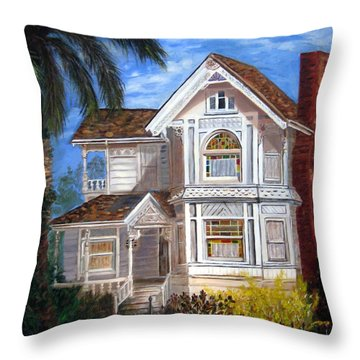 Throw Pillow featuring the painting Victorian House by LaVonne Hand