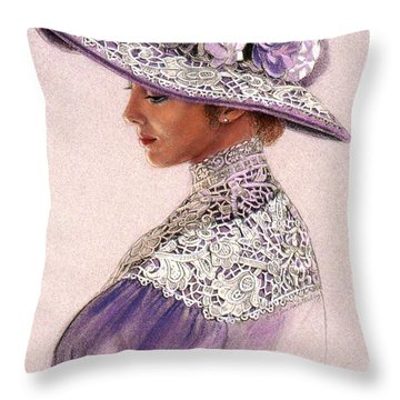 Victorian Lady In Lavender Lace Throw Pillow