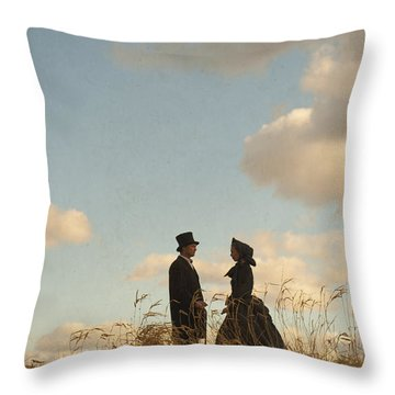 Victorian Man And Woman Throw Pillow by Lee Avison
