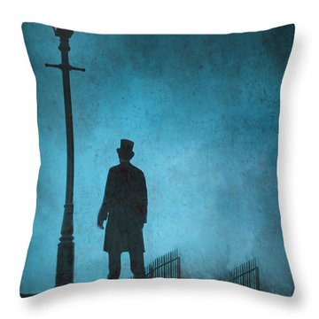 Victorian Man Standing Next To An Illuminated Gas Lamp Throw Pillow by Lee Avison