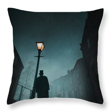 Victorian Man With Top Hat Leaning On A Street Light Throw Pillow by Lee Avison