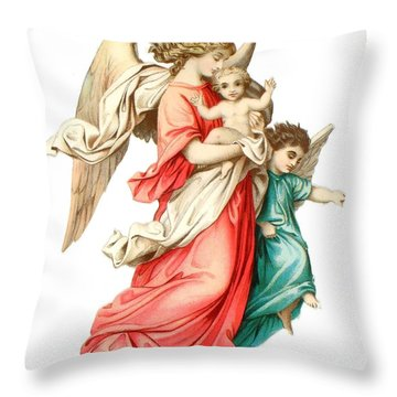 Victorian Scrap Relief Of The Christ Child Throw Pillow by English School