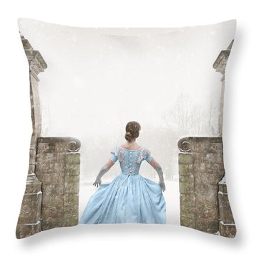 Victorian Woman Running In Snow Throw Pillow by Lee Avison