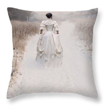Victorian Woman Walking Through A Winter Meadow Throw Pillow