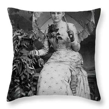 Throw Pillow featuring the photograph Victorian Women With Umbrella by Lyric Lucas