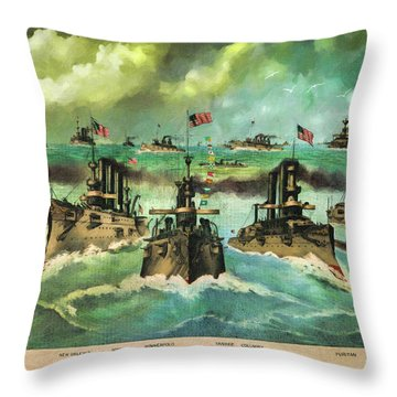 Victorious Navy - 1898 Throw Pillow by Lianne Schneider