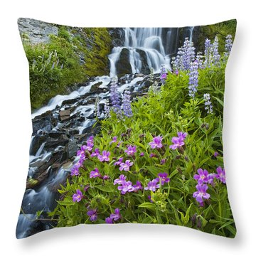 Vidae Falls And Flowers Throw Pillow by Lee Kirchhevel