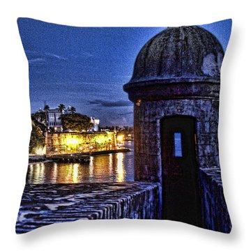 Viejo San Juan En La Noche Throw Pillow by Daniel Sheldon