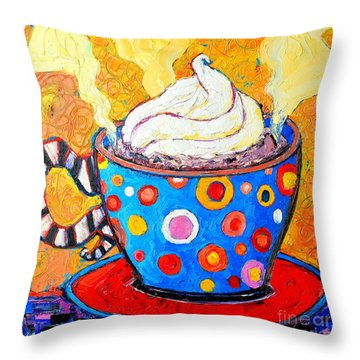 Viennese Cappuccino Whimsical Colorful Coffee Cup Throw Pillow by Ana Maria Edulescu