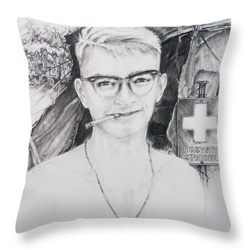 Vietnam Medic Throw Pillow by Scott and Dixie Wiley