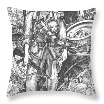 Vietnam Soldier Throw Pillow by Scott and Dixie Wiley