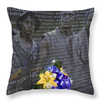 Vietnam Veteran Wall And Three Soldiers Memorial Collage Washington Dc_2 Throw Pillow by David Zanzinger