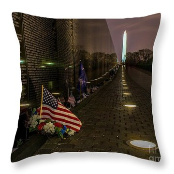 Vietnam Veterans Memorial At Night Throw Pillow by Nick Zelinsky