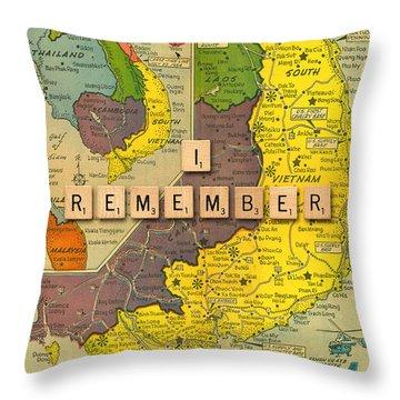 Vietnam War Map Throw Pillow