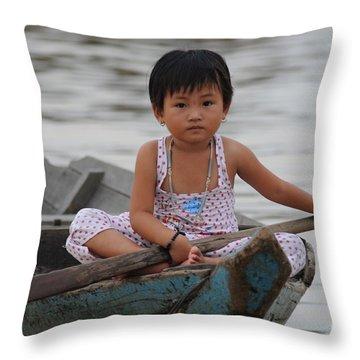 Vietnamese Girl On Lake Tonle Sap Throw Pillow