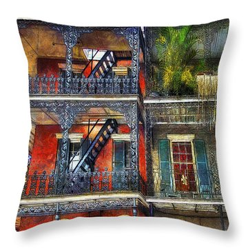 Throw Pillow featuring the photograph Vieux Carre' Balconies by Tammy Wetzel