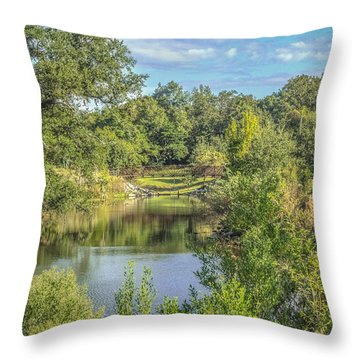 View Down The Creek Throw Pillow by Jane Luxton