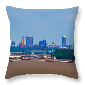 View From A Far St. Louis Downtown Throw Pillow by Peggy Franz