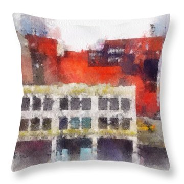 Throw Pillow featuring the digital art View From A New York Window by Mark Taylor
