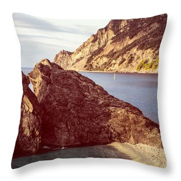 View From Beach Of Monterosso Throw Pillow